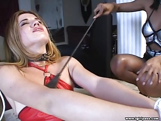 Blonde Tgirl Giving Blowjob
