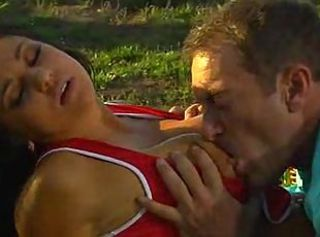Oral caresses and furious screwing on the grass end with sticky jiz...