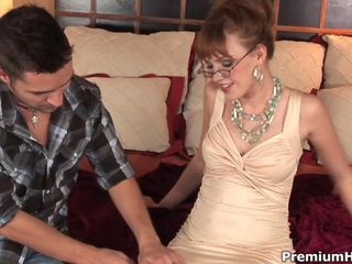 Sexy babe in glasses takes bi...
