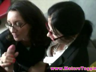 Blowjob Clothed Glasses  Threesome