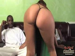 Two hung blacks on a busty brunette MILF