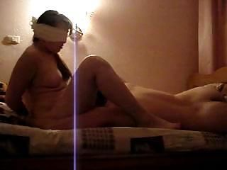 Horny girl is blindfolded and...