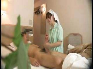 Asian Handjob HiddenCam Japanese Nurse Uniform Voyeur