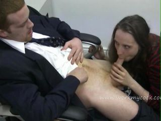 Horny boss pulls his pants do...