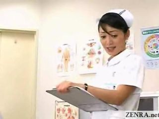 A cute Japanese nurse working...
