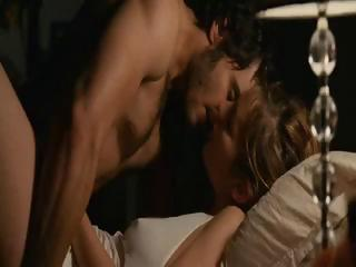 Brunette celebrity Louise Bourgoin in nude sex scenes from the movie Happy Event