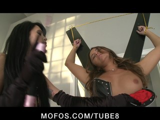 Big Tit Brunette Dominatrix Fucks A Tiedup Teen With Strapon