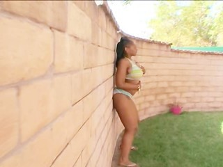 Amazing Bikini Chubby Ebony  Outdoor