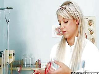 Blond Nurse Sabina Dressing Off Then Dildoyin