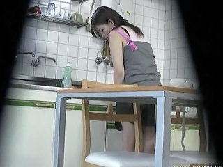 Asian Kitchen Sister Voyeur