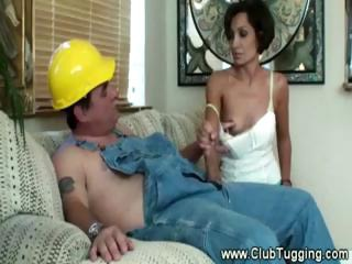 Housewife Gives Contractor Handjob