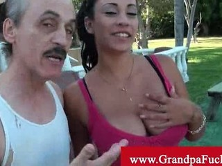 Old Man Walking With A Steamy Latina