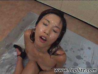 Young Asian Babe Gets Cum Covered By Hot Jizz From Multiple Cocks