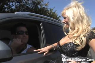 Big Tits Blonde Car  Outdoor Public