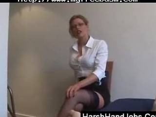 Blonde Secretary Gives A Painfull Handjob Bdsm Bondage Slave Femdom Do...