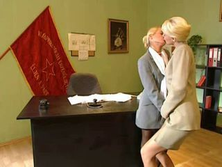 Blonde Kissing Lesbian  Office Secretary