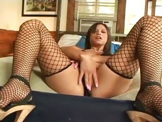 Babe Fishnet Masturbating