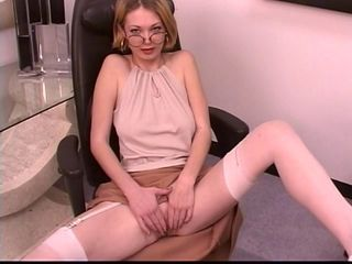 Blonde Cute Glasses  Stockings