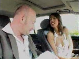horny French Arab Babe learning to drive a car.