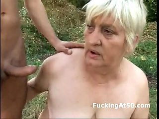 Slutty fat granny fucked outdoors