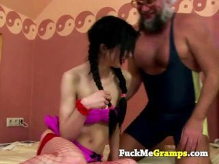 Grandpa plays with horny slut...