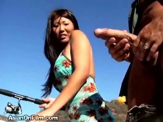 Asian Babe  Interracial Outdoor