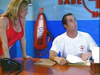 Busty lifeguard fucking her boss in the office