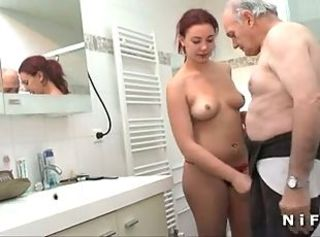 Young french redhead banged before giving blowjob to Papy
