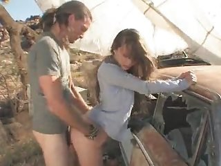 Farm girl banging her boyfriend outside