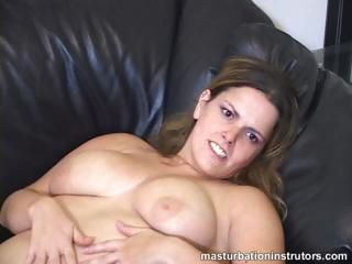 Masturbation teacher flaunts her big tits to tease men