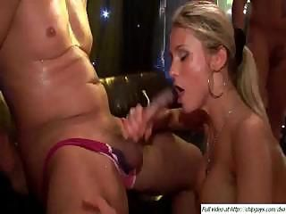 Girls give up the pussy and the mouth for this scene in the club
