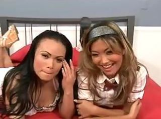Two sultry Asian cuties enjoy sucking and fucking with stud in thre...