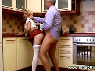 Teen fucked in kitchen by mature man...