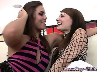Teen step sisters kissing