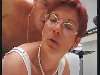 European French Glasses Hardcore Mature Mom Old and Young Redhead