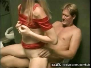 Daddy Old and Young Riding Teen Toilet