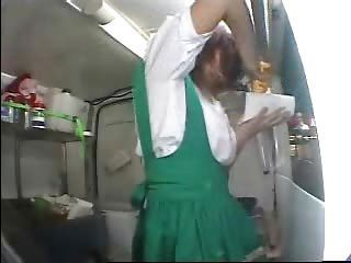 japanese girl makes food while she gets a orgasm