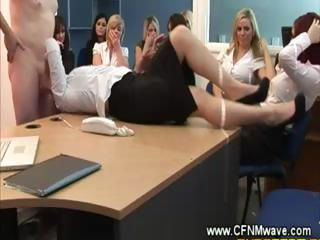 Clothed secretary gets her face spunked