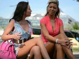 2 hottest chicks on high heels in public street + upskirt