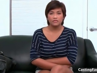 Sexy busty asian girl goes to a casting gets naked