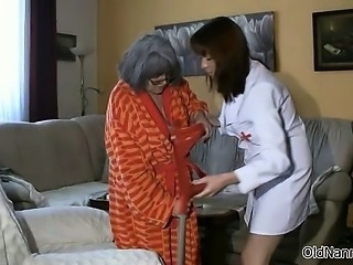Busty nanny is showered by caregiver and