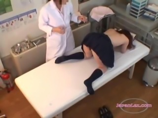 Schoolgirl With Tiny Tits Getting Her Hairy Pussy Fingered By The Doctor On...