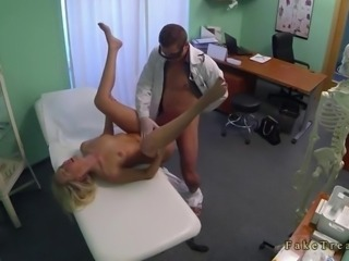 Pollute with gloves categorizing and fucking a blonde nigh office