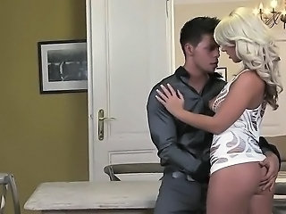 Hot blonde fucks dude around strap on toy