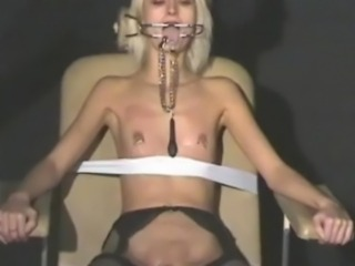 Blonde submissives bizarre cumshot torture and gagged slavegirls x-rated pain...