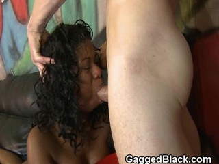 White Guy Owns Black Sluts Mouth With His Cock