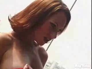 petite blonde blows guy in the sun