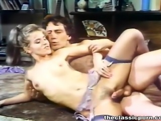 Hot retro lady fuck on along to floor
