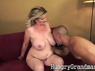 Busty chubby grandma playing