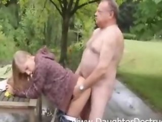 Young daughter brutally double fucked